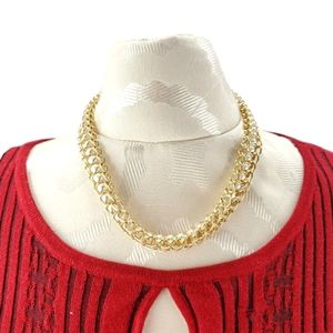 vintage swirly chain necklace choker faux pearls